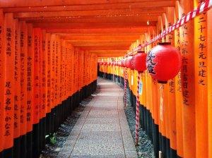 Corredor de toriis con las ofrendas de los donantes